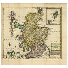 Antique Map of Scotland and the Western Islands by i. Tirion, circa 1754