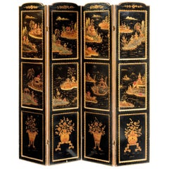 Late 19th Century Oriental Four Fold Lacquered Screen