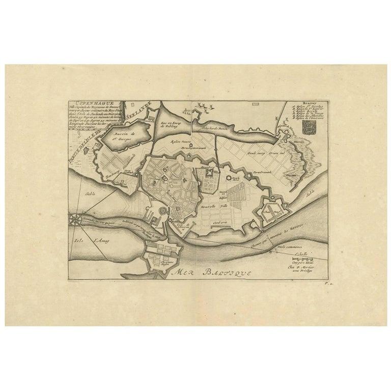 Antique Town Plan of Copenhagen 'Denmark' by P. Mortier, circa 1702