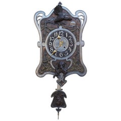 Antique Arts and Crafts Hunting Clock with Bronze Dog and Bird Sculptures