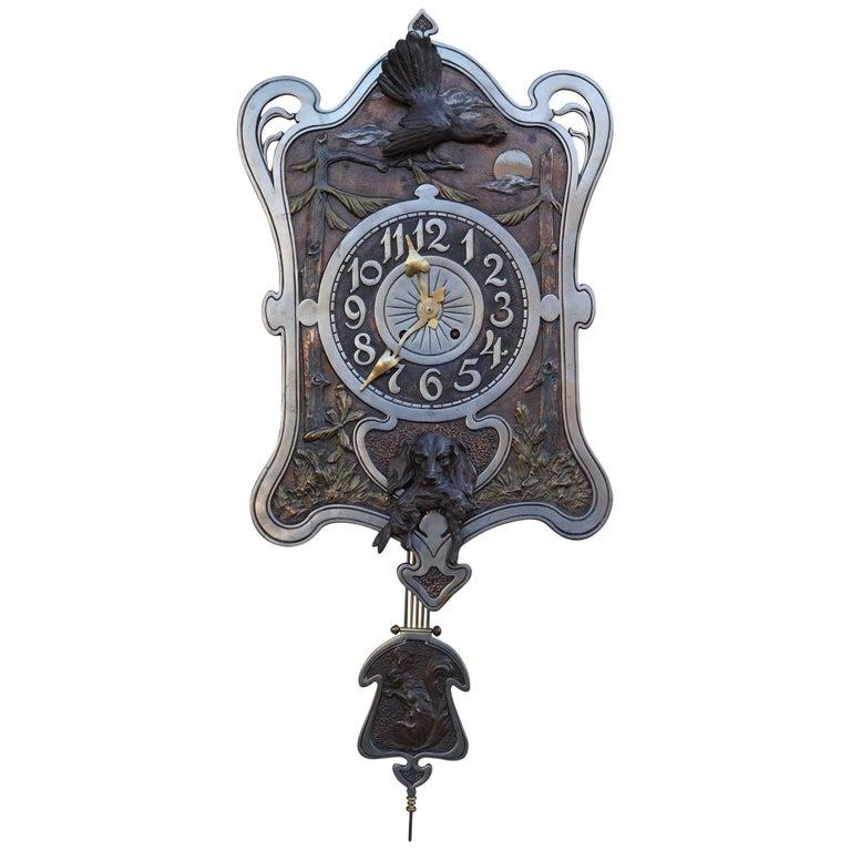 Antique Jugendstil Hunting Clock with Bronze Dog and Capercaillie Bird Sculpture