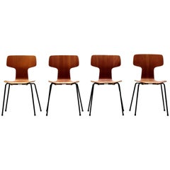 Model 3103 Teak Hammer Chairs by Arne Jacobsen for Fritz Hansen, 1960s