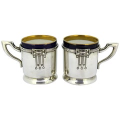 Antique Austrian Silver and Porcelain Enameled Cups, circa 1867-1872 by FR
