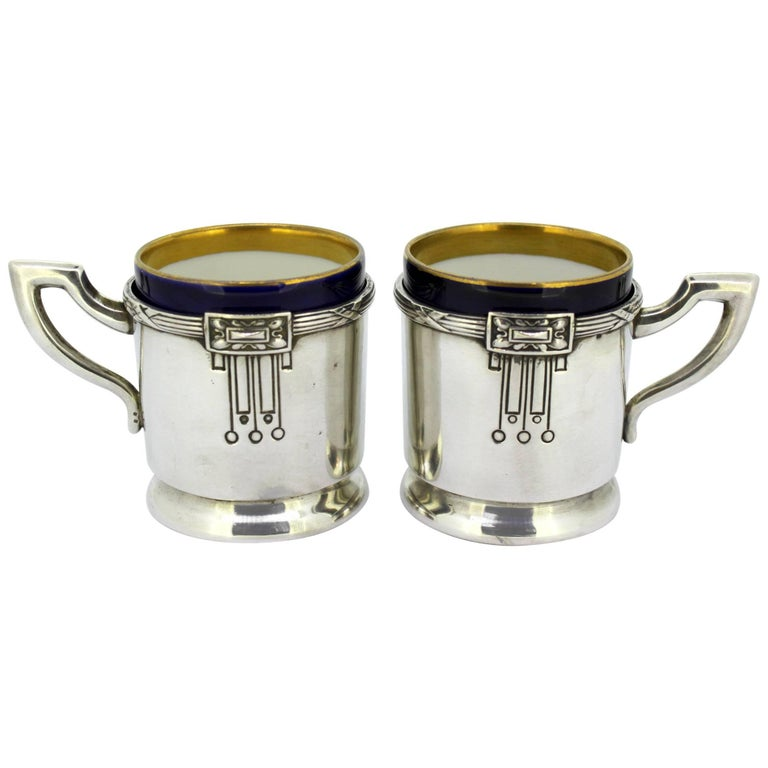 Antique Austrian Silver and Porcelain Enameled Cups, circa 1867-1872 by FR For Sale