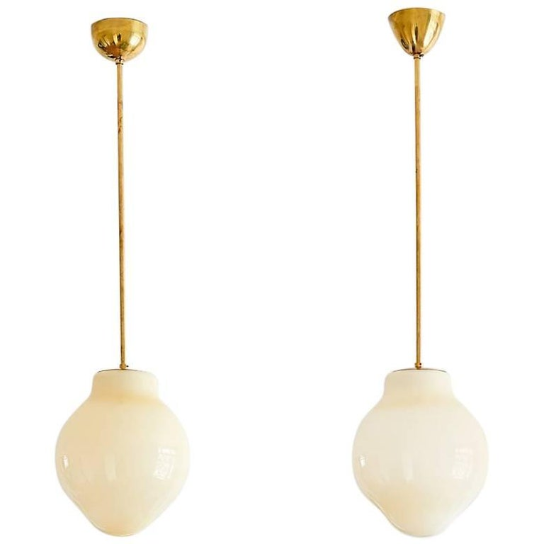 Pair of Paavo Tynell Pendants, Model 1092, Taito Oy Finland, 1950s