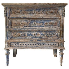 Louis XVI Decorated Commode or Drawer with Blue Patine