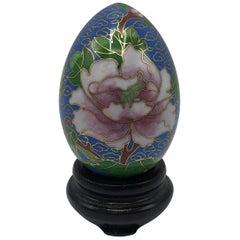 1970s Cloisonné Blue Floral Motif Egg Sculpture on Stand