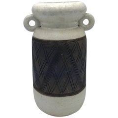 1960s Italian Bitossi Pottery Handled Vase with Geometric Plaid Motif