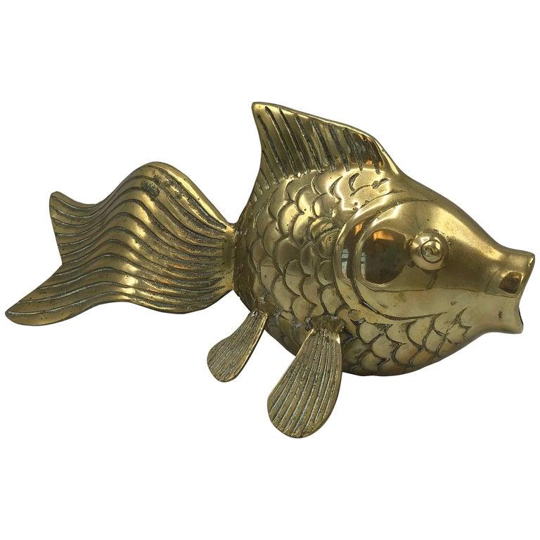 1970s Modern Brass Fish Sculpture