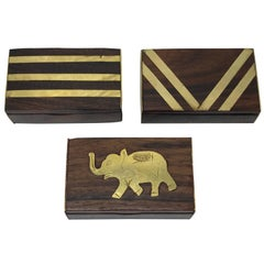 1960s Teak and Brass Inlay Matchbox Set, Set of Three
