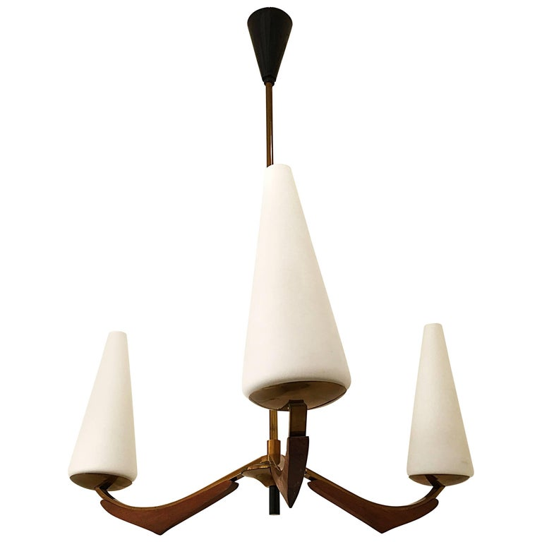 Arlus mid-century Chandelier Glass Opalines french , 1950 For Sale