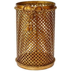 Mid-Century 1950s Hollywood Regency Italian Gold Gilded Waste Paper Basket