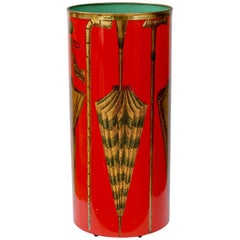 1950s Italian Hand-Painted Red Umbrella Stand or Holder by Felice Galbiati