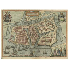 Antique Town Plan of Embden 'Germany' by Braun & Hogenberg, 1597