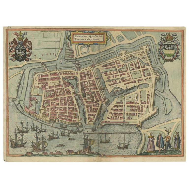 Antique Town Plan of Embden 'Germany' by Braun & Hogenberg, 1597 For Sale