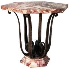 Raymond Subes, Circular Wrought Iron Pedestal Table, circa 1935