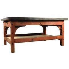 Industrial 'Saw Mill' Red Table Base with New Zinc Top, circa 1910