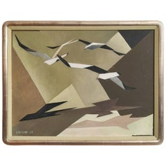 Modernist Composition of Three Abstract Seagulls, 1959