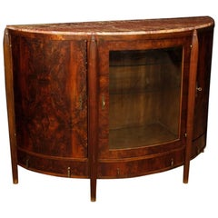 Dutch Art Deco Demilune Sideboard in Mahogany Wood with Marble Top 20th Century