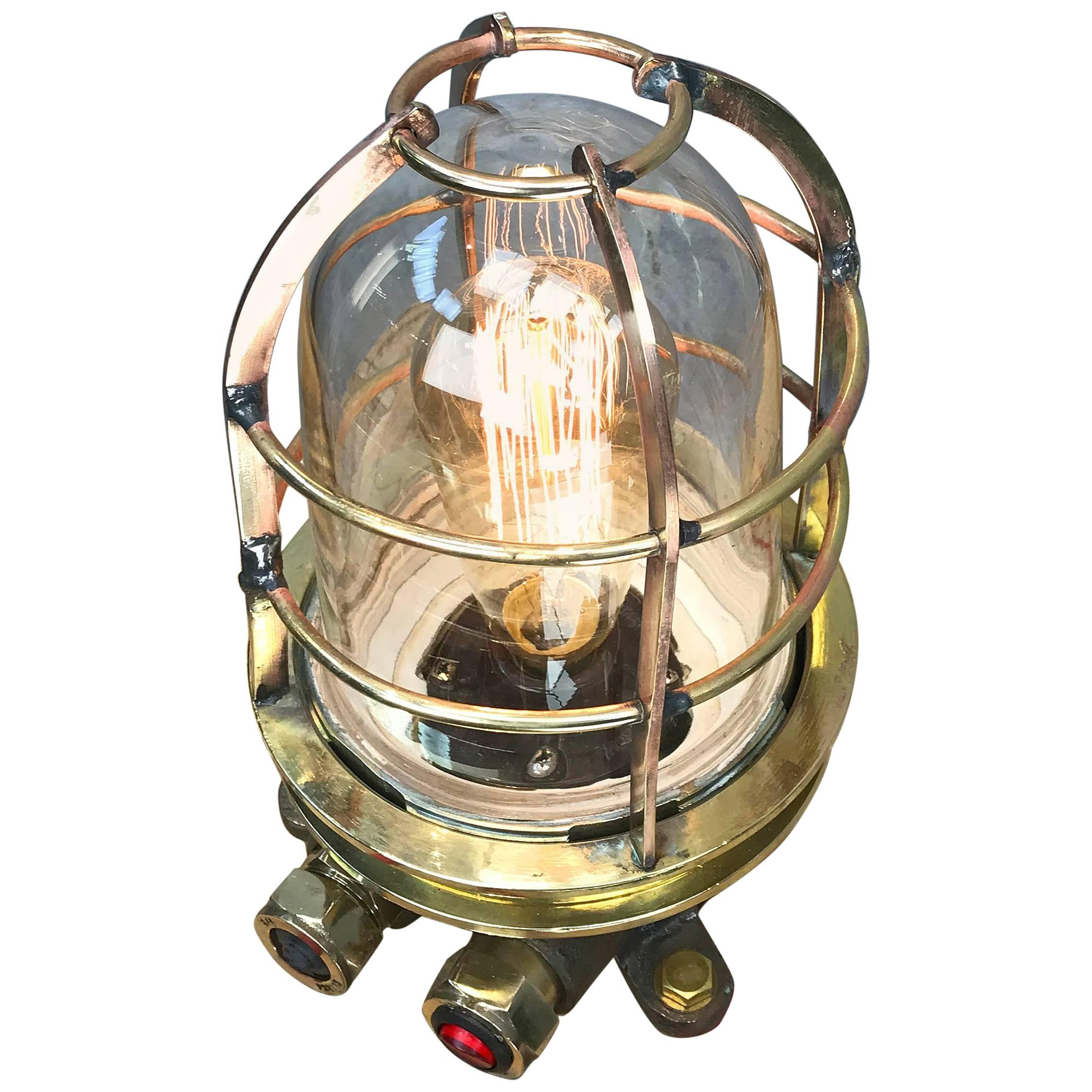 Late Century Japanese Cast Brass Industrial Explosion Proof Edison Table Lamp