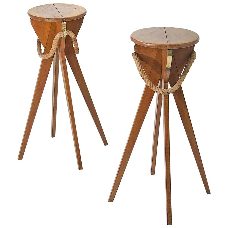 Pair of Wood and Rope Pedestal or Stools by Audoux Minet