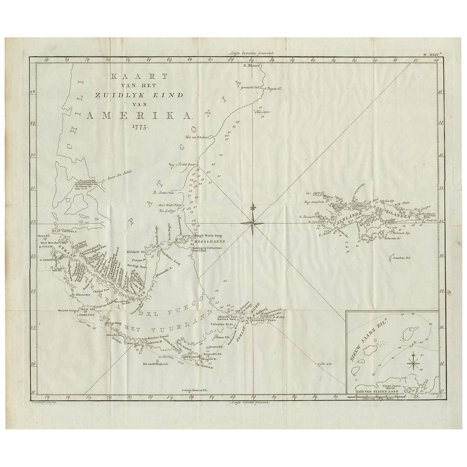 Antique Map of South America by J. Cook (1775)