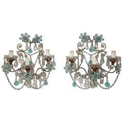 French Maison Baguès Style Aqua Blue Floral Crystal Sconces, circa 1920