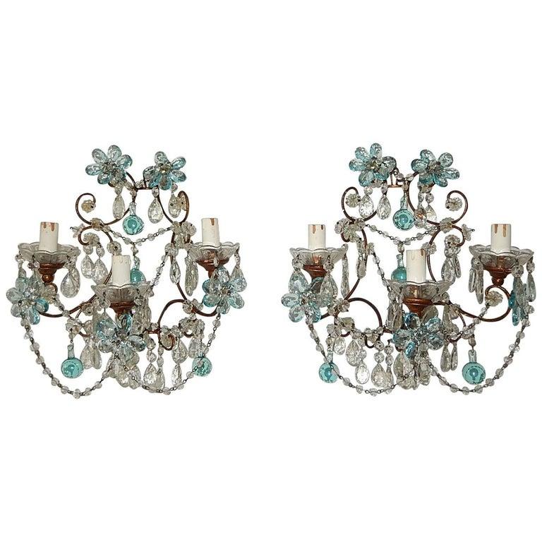 French Maison Baguès Style Aqua Blue Floral Crystal Sconces, circa 1920