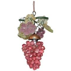 Italian Murano Red Grape Cluster Chandelier