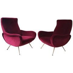 Pair of Midcentury Italian Vintage Cocktail Chairs in Red Velvet