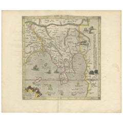 Antique Map of Southeast Asia by P. Bertius, 1618