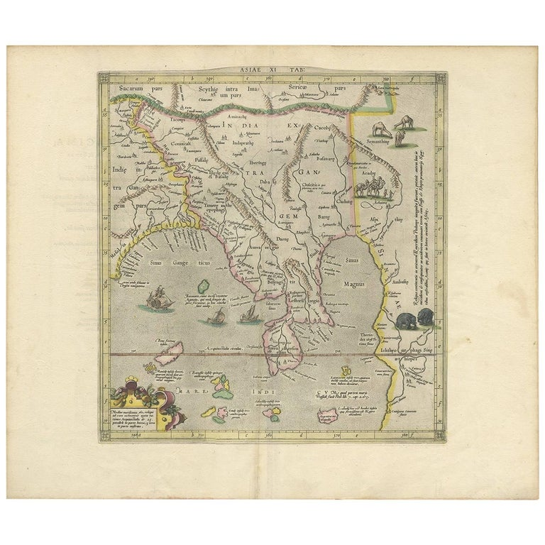 Antique Map of Southeast Asia by P. Bertius, 1618 For Sale