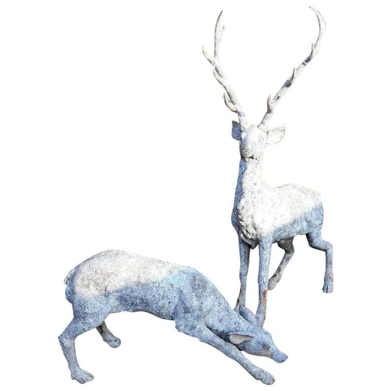 Set of Bronze Deer Sculptures with Beautiful Patina