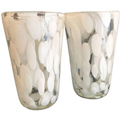 Pair of Murano Vases with White and Gold Detail