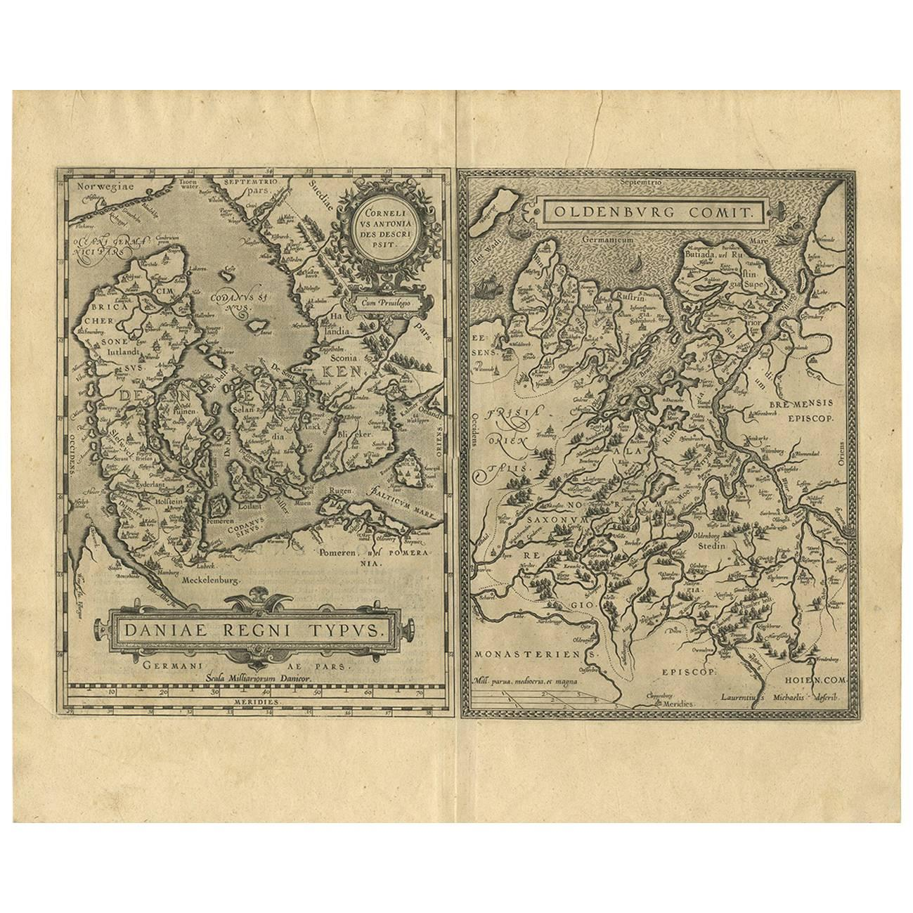 Antique Map of Denmark and Oldenburg 'Germany' by A. Ortelius, circa 1598