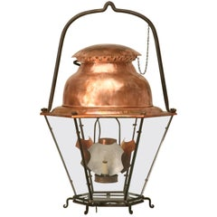 French 18th Century Style Copper Lantern with Handblown Glass Panes