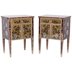 Pair of Reverse Painted Mirrored Nightstands