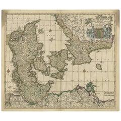 Antique Map of Denmark by F. de Wit, 1680