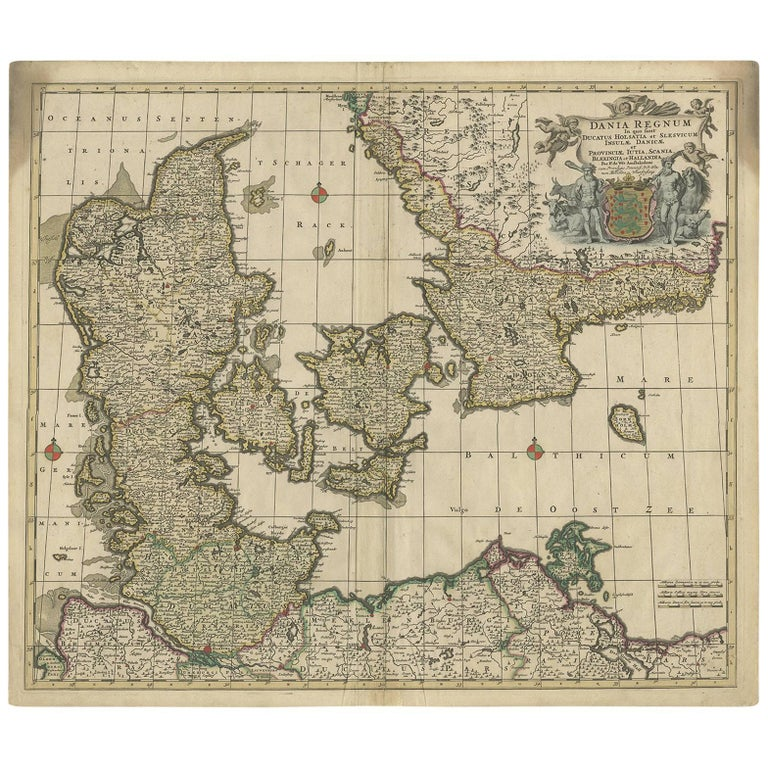 Antique Map of Denmark by F. de Wit, 1680 For Sale