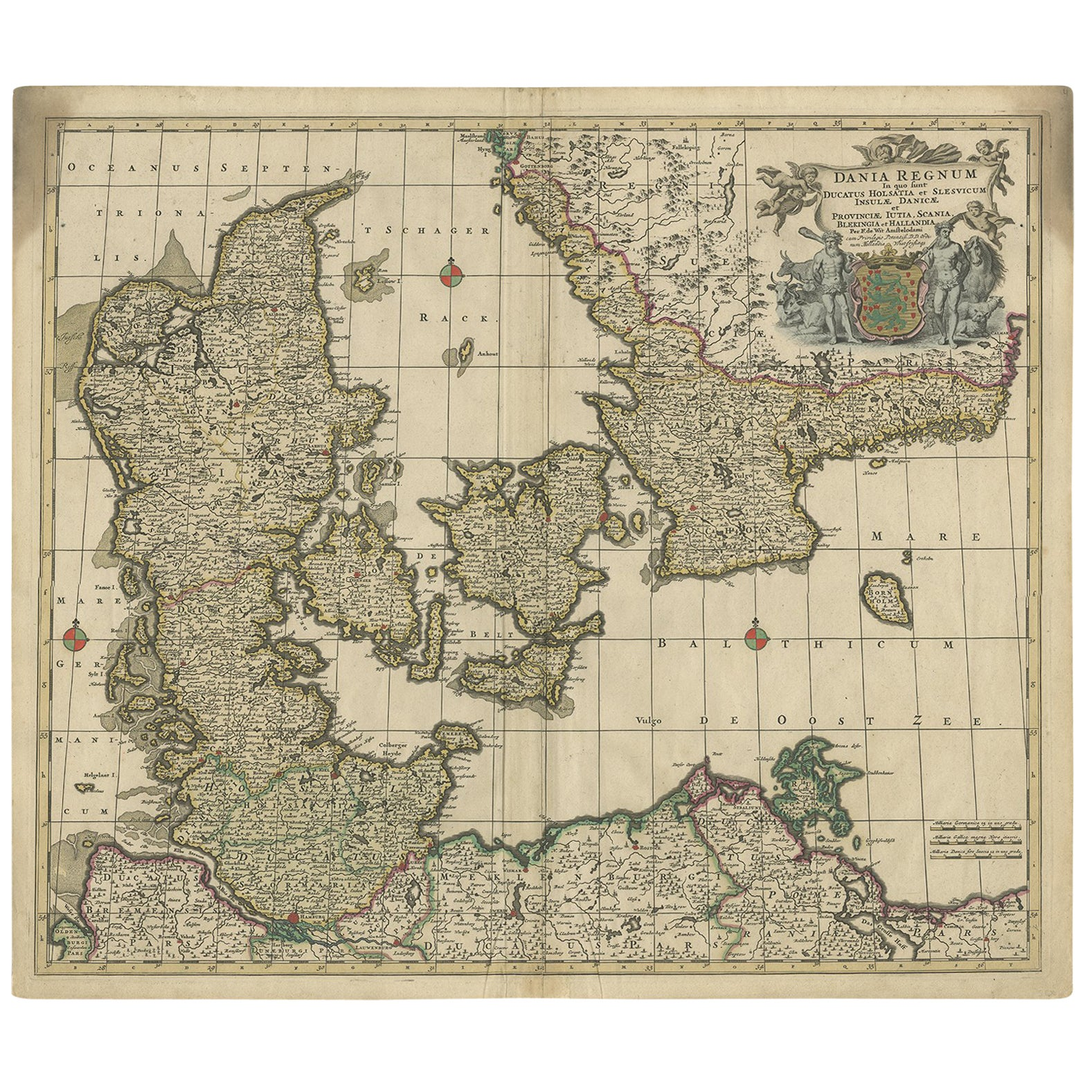 Antique Map of Denmark by F. de Wit, 1680