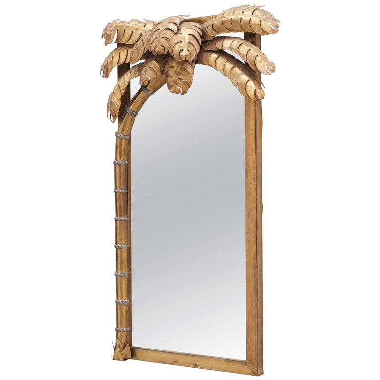 1980s Brass Palm Tree Mirror and Lamp by Maison Jansen