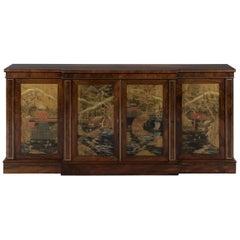 Regency Rosewood Four Door Brass Inlaid Breakfront Side Cabinet
