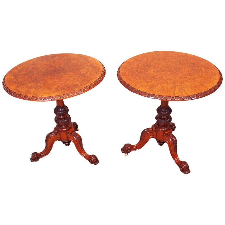Antique 19th Century Pair of Walnut Lamp Tables For Sale