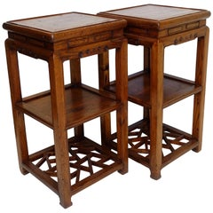 Pair of Qing Dynasty Two-Tier Stands with Hidden Drawers