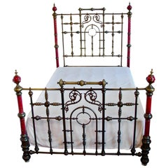 Spectacular Ruby Red Painted Porcelain and Brass Victorian Bed