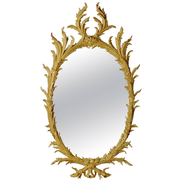 Early George III 18th Century Oval Carved Giltwood Mirror