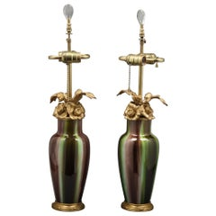 Pair of Bronze Mounted Chinese Style Porcelain Lamps, French, circa 1900