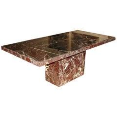 Art Moderne Variegated Green Marble Pedestal Table