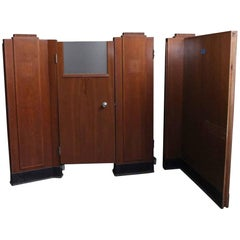1940s Set of Ten Art Deco Bank Cubicles with Glass and Walnut Veneer