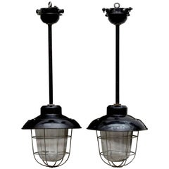 Pair of Industrial Pendant Light Fixtures